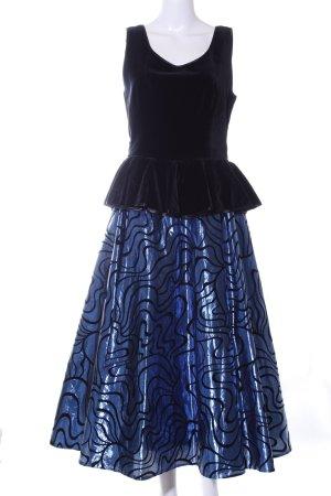 Höpfner Jeunesse Abendkleid schwarz-neonblau abstraktes Muster