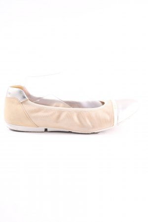 Hogan Foldable Ballet Flats cream-silver-colored embroidered lettering