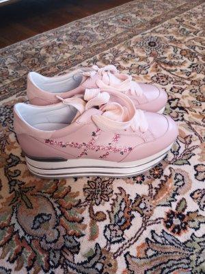 Hogan Sneaker con zeppa rosa pallido Pelle