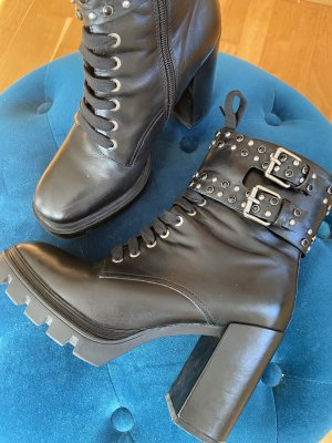 Alisha Booties black-silver-colored leather