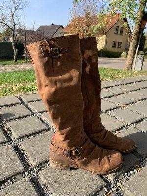Botas de piel marrón-rojo