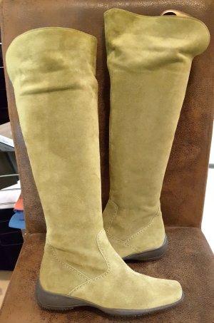 Botas sobre la rodilla verde oliva-caqui Cuero