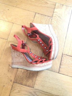 Guess Plateauzool Sandalen met Hoge Hakken rood-donker oranje