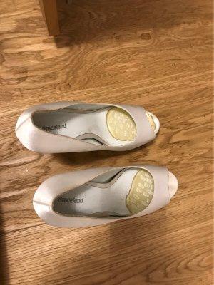 Graceland Sandalo con tacco alto e lacci a T bianco