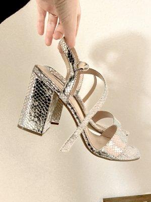 Hohe Schuhe Silber Krokodil-Muster