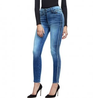 Hohe Taille Röhrenjeans Slim Skinny Jeans Denim enge high waist Hose 26-27 S-M