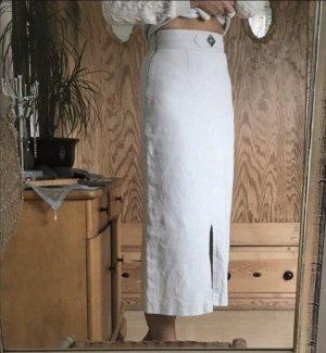 Alpentracht Falda de lino blanco puro-crema