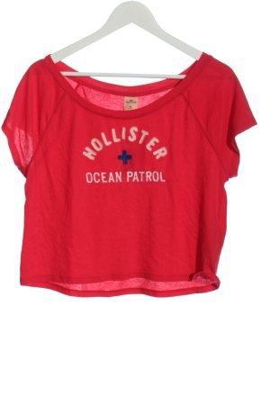 Holister T-shirt court rouge lettrage brodé style décontracté