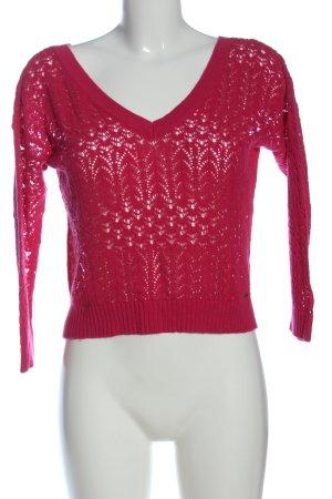 Holister Pull en crochet rouge Motif de tissage style décontracté
