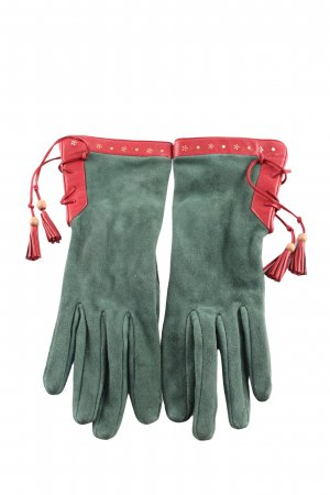 Holland & Holland Leather Gloves khaki-red classic style