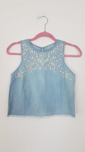 Hollister Abercrombie Frayed Denim Crop Top Bluse
