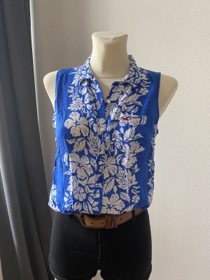 Hollister ärmellose Bluse weiß-blau florales Muster