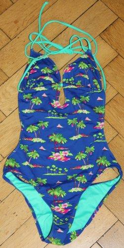 Hollister Badeanzug XS 32 34 blau türkis grün pink