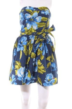 Hollister Bandeaukleid blau-blassgelb Blumenmuster Elegant