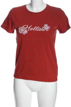 Hollister Basic-Shirt rot-weiß Schriftzug gedruckt Casual-Look