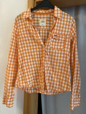 Hollister Bluse Hemd orange weiß kariert Größe 38