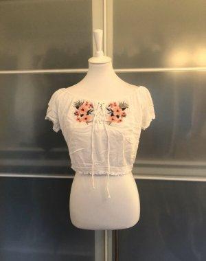 Hollister Bluse L Weiß mit Blumen Rose Rosa