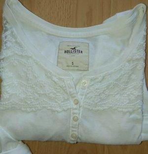 Hollister, Bluse, Shirt, 3/4 Arm, Weiss, Spitze, Gr. S