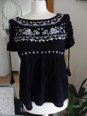 Hollister Bluse Tunika Stickerei schwarz weiß L