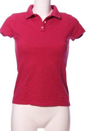 Hollister Polo-Shirt pink Schriftzug gestickt Casual-Look