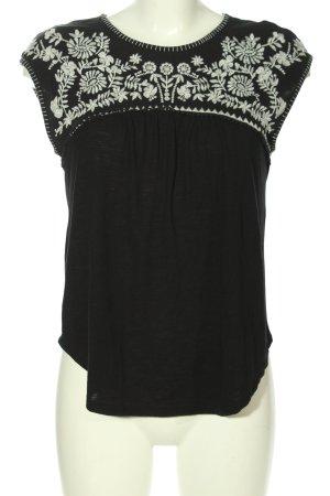 Hollister Blusentop schwarz-weiß Blumenmuster Casual-Look