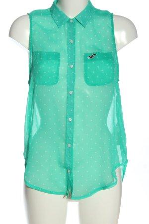 Hollister Blusentop grün-wollweiß Punktemuster Casual-Look