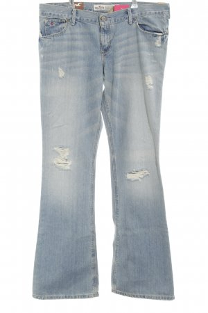 Hollister Boot Cut Jeans blau-weiß Casual-Look