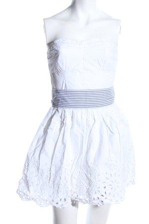 Hollister Bustierkleid weiß-blau Blumenmuster Casual-Look