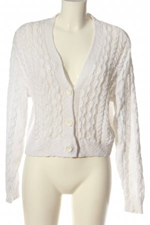 Hollister Cardigan weiß Zopfmuster Casual-Look