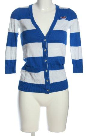 Hollister Cardigan weiß-blau Streifenmuster Casual-Look