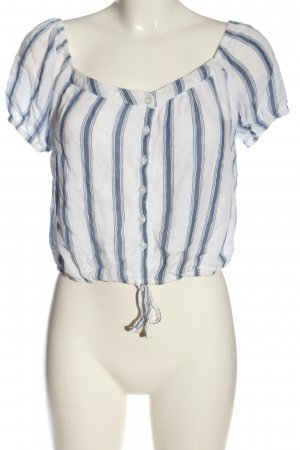 Hollister Carmen-Bluse weiß-blau Streifenmuster Casual-Look
