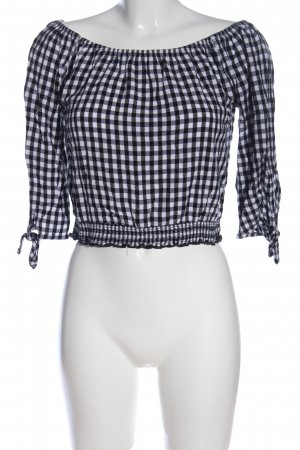 Hollister Carmen-Bluse schwarz-weiß Karomuster Casual-Look