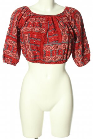 Hollister Carmen-Bluse rot-türkis abstraktes Muster Casual-Look