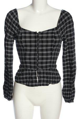 Hollister Langarm-Bluse schwarz-weiß Karomuster Casual-Look