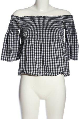 Hollister Top épaules dénudées blanc-noir motif à carreaux