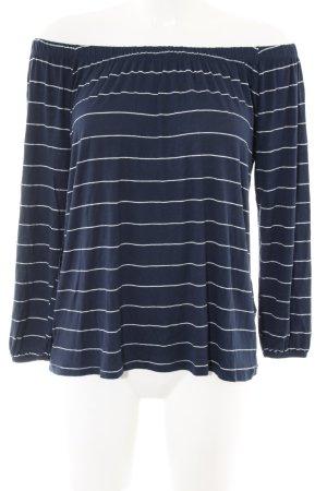 Hollister Camisa tipo Carmen azul-blanco estampado a rayas look casual