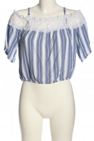 Hollister Carmen shirt blauw-wit volledige print casual uitstraling