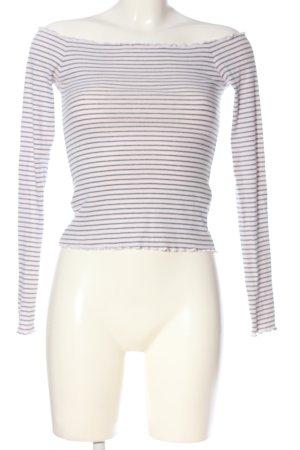 Hollister Top épaules dénudées blanc-noir motif rayé style décontracté