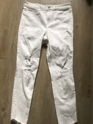 Hollister Crop High Rise Jeans in Weiß