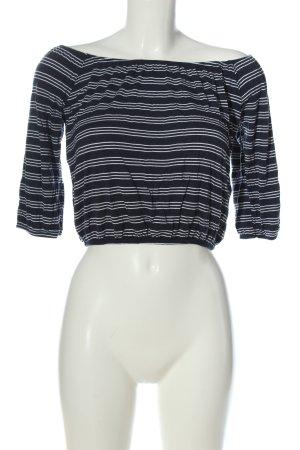 Hollister Cropped Shirt schwarz-weiß Streifenmuster Casual-Look