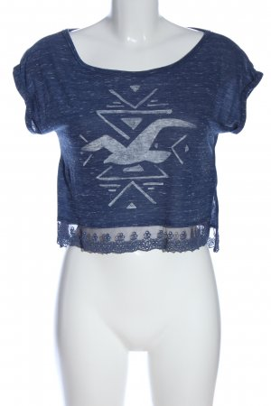 Hollister Cropped Shirt blau-hellgrau meliert Casual-Look
