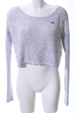 Hollister Cropped Shirt hellgrau-weiß meliert Casual-Look