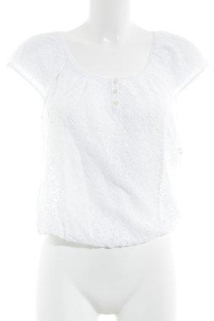 Hollister Cropped Shirt weiß Spitzen-Optik
