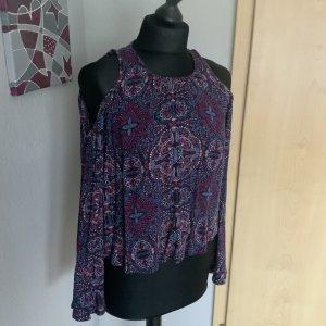 Hollister Damen Shirt Cut Off Shoulder Volant Shirt Größe XS pink blau