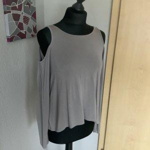 Hollister Damen Shirt Off Shoulder lila graues Shirt mit Volant Ärmeln mit Schnürung Größe XS 34