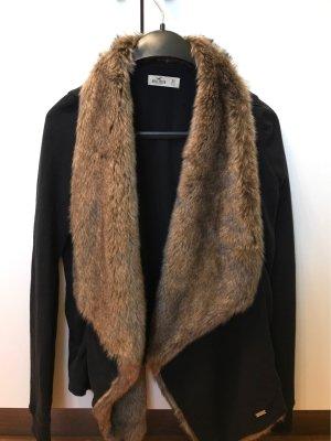 Hollister Chaleco de piel negro-marrón