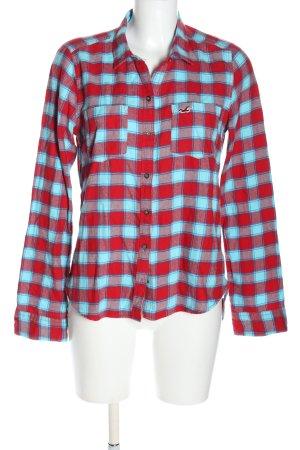 Hollister Flanellhemd rot-blau Allover-Druck Casual-Look