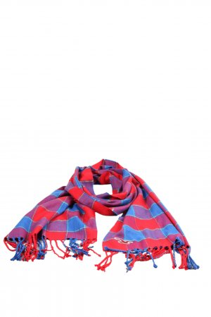 Hollister Fringed Scarf red-blue check pattern casual look