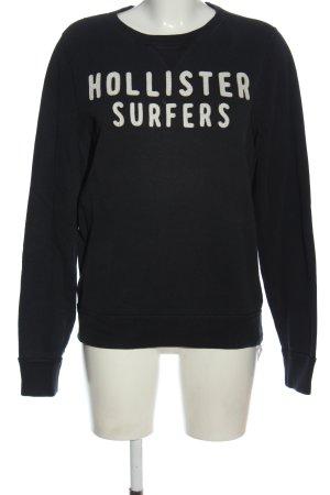 Hollister Sweatshirt schwarz-weiß Schriftzug gedruckt Casual-Look