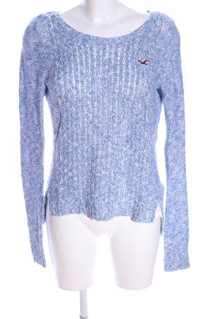 Hollister Grobstrickpullover blau-weiß Zopfmuster Casual-Look